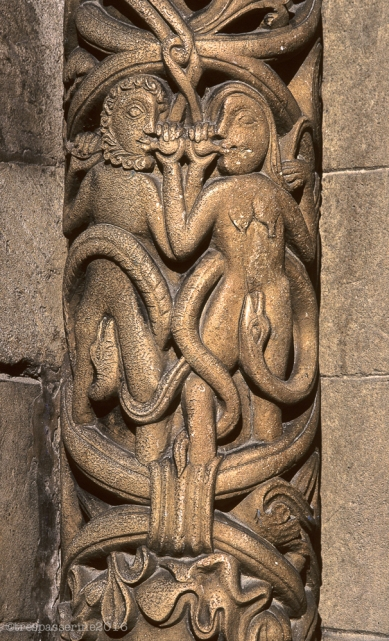 Adam and Eve and the sin of temptation: Lincoln Cathedral